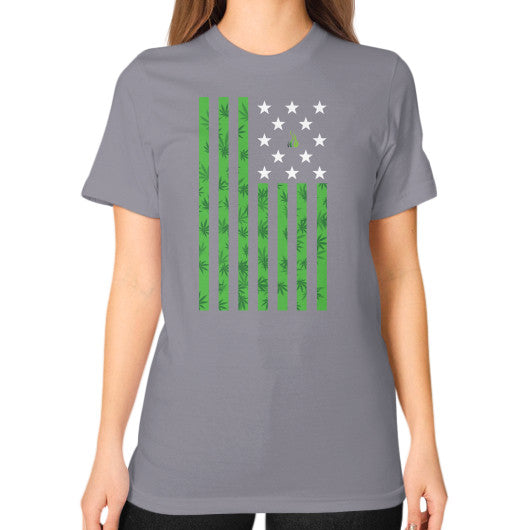 Cannabis Flag Unisex T-Shirt (on woman) Slate Kushvana