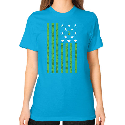 Cannabis Flag Unisex T-Shirt (on woman) Teal Kushvana
