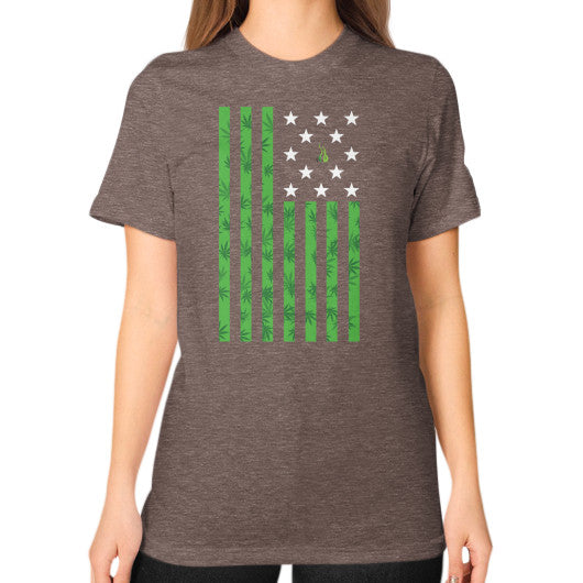 Cannabis Flag Unisex T-Shirt (on woman) Tri-Blend Coffee Kushvana