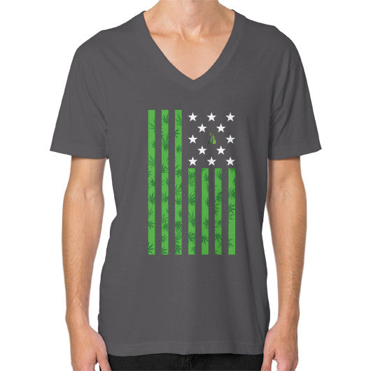 Cannabis Flag V-Neck (on man) Asphalt Kushvana