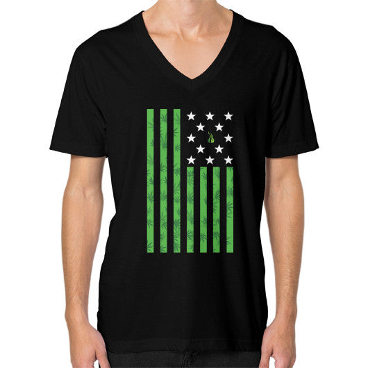 Cannabis Flag V-Neck (on man) Black Kushvana