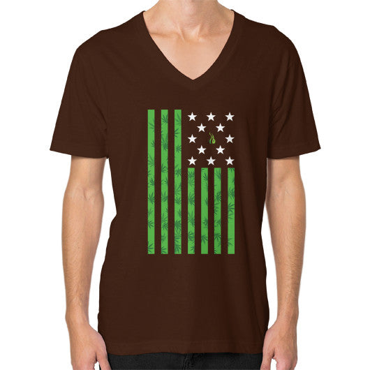 Cannabis Flag V-Neck (on man) Brown Kushvana