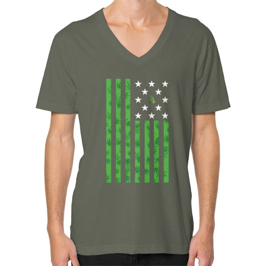Cannabis Flag V-Neck (on man) Lieutenant Kushvana
