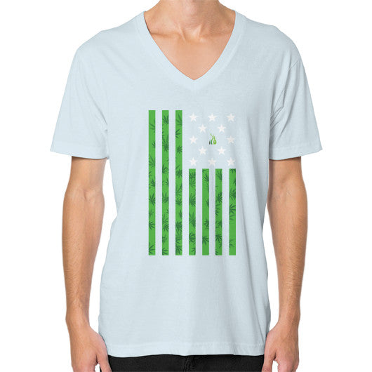 Cannabis Flag V-Neck (on man) Light blue Kushvana