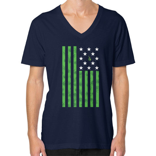Cannabis Flag V-Neck (on man) Navy Kushvana