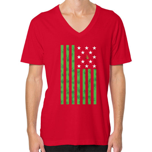Cannabis Flag V-Neck (on man) Red Kushvana