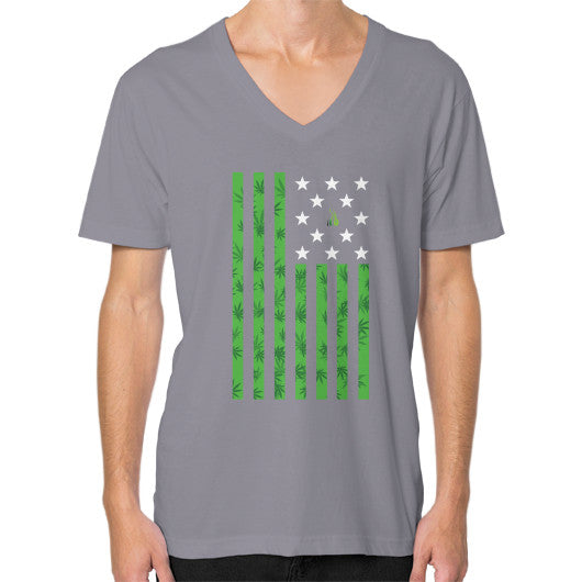 Cannabis Flag V-Neck (on man) Slate Kushvana