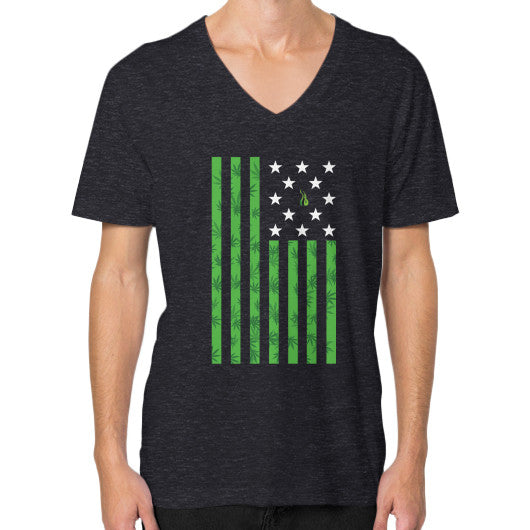 Cannabis Flag V-Neck (on man) Tri-Blend Black Kushvana