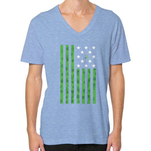 Cannabis Flag V-Neck (on man) Tri-Blend Blue Kushvana