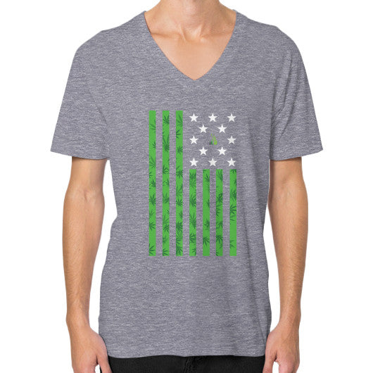 Cannabis Flag V-Neck (on man) Tri-Blend Grey Kushvana