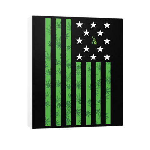 Cannabis Flag Vertical Canvas Wall Art by Kushvana