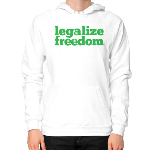 Cannabis Legalize Freedom Hoodie (on man) White by Kushvana