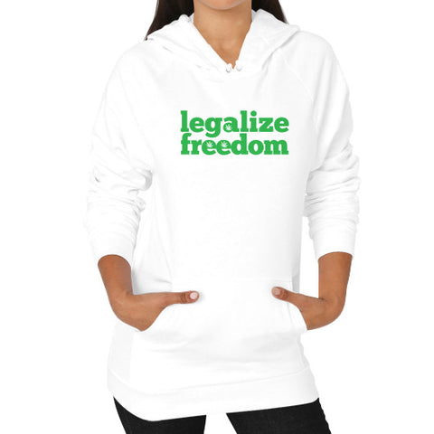 Cannabis Legalize Freedom Hoodie (on woman) White by Kushvana