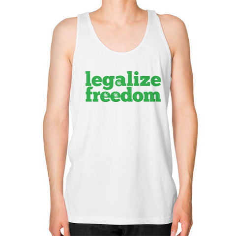 Legalize Freedom Cannabis Unisex Fine Jersey Tank (on man) White Kushvana