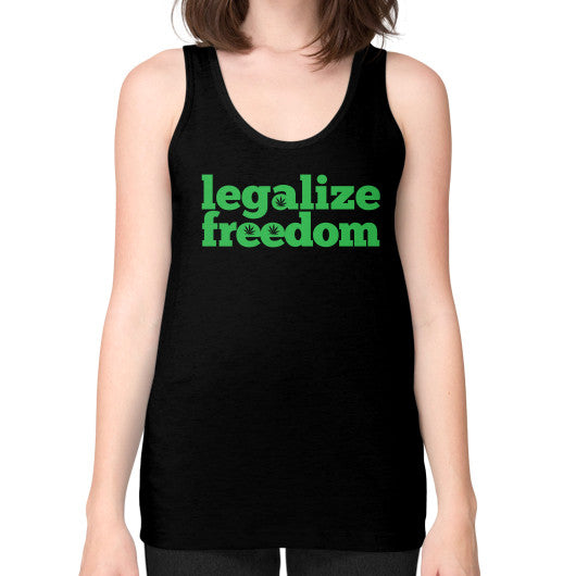 Legalize Freedom Cannabis Unisex Fine Jersey Tank (on woman) Black Kushvana