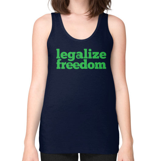 Legalize Freedom Cannabis Unisex Fine Jersey Tank (on woman) Navy Kushvana