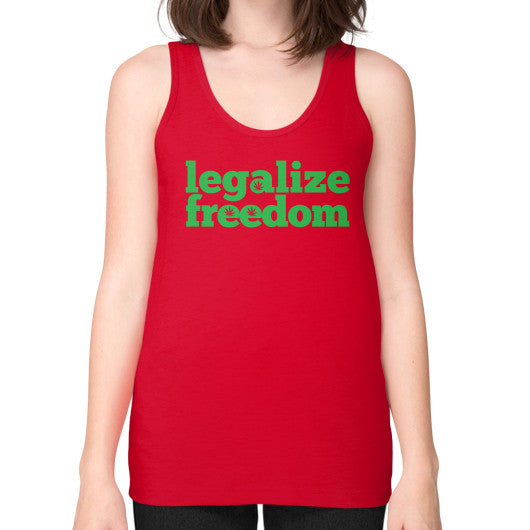 Legalize Freedom Cannabis Unisex Fine Jersey Tank (on woman) Red Kushvana