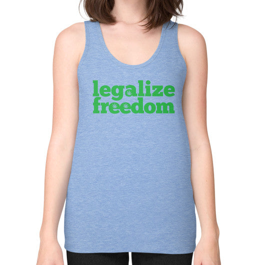 Legalize Freedom Cannabis Unisex Fine Jersey Tank (on woman) Tri-Blend Blue Kushvana