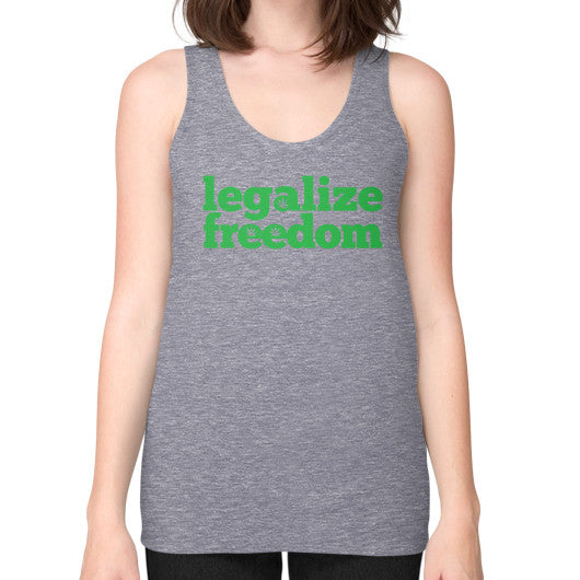 Legalize Freedom Cannabis Unisex Fine Jersey Tank (on woman) Tri-Blend Grey Kushvana