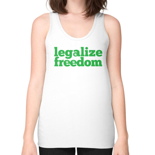 Legalize Freedom Cannabis Unisex Fine Jersey Tank (on woman) White Kushvana