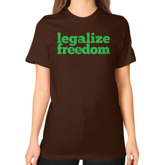 Legalize Freedom Cannabis Unisex T-Shirt (on woman) Brown Kushvana