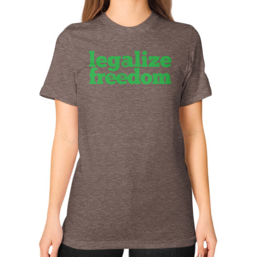 Legalize Freedom Cannabis Unisex T-Shirt (on woman) Tri-Blend Coffee Kushvana