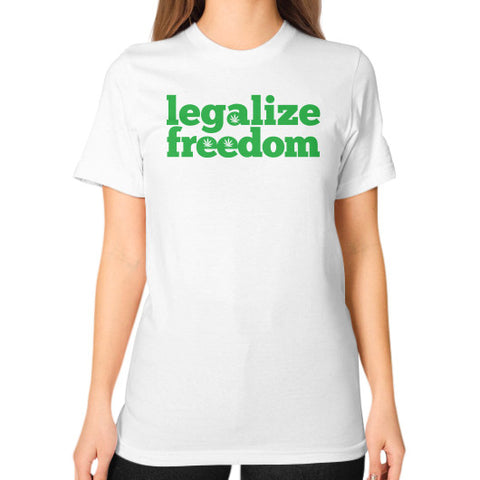 Legalize Freedom Cannabis Unisex T-Shirt (on woman) White Kushvana