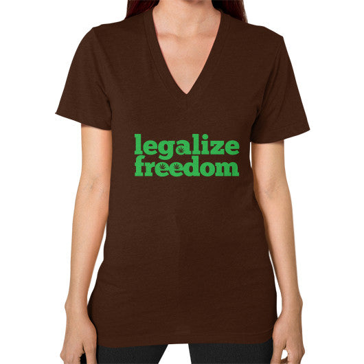 Legalize Freedom Cannabis V-Neck (on woman) Brown Kushvana