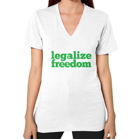Legalize Freedom Cannabis V-Neck (on woman) White Kushvana