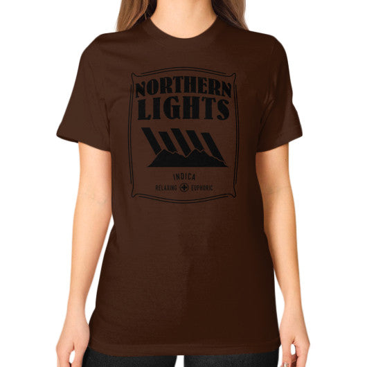 Northern Lights Signature Series Unisex T-Shirt (on woman) Brown Kushvana