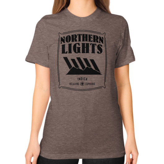Northern Lights Signature Series Unisex T-Shirt (on woman) Tri-Blend Coffee Kushvana