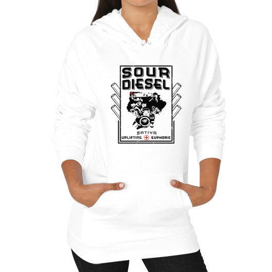 Sour Diesel Cannabis Signature Series Hoodie (on woman) White Kushvana