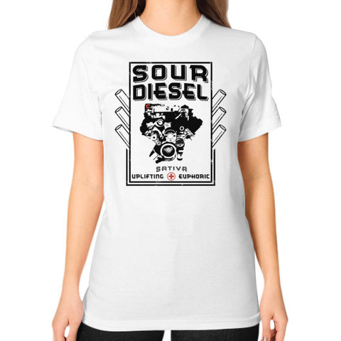 Sour Diesel Cannabis Signature Series Unisex T-Shirt (on woman) White Kushvana