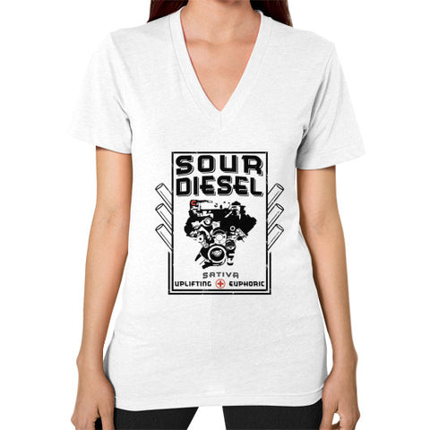 Sour Diesel Cannabis Signature Series V-Neck (on woman) White Kushvana