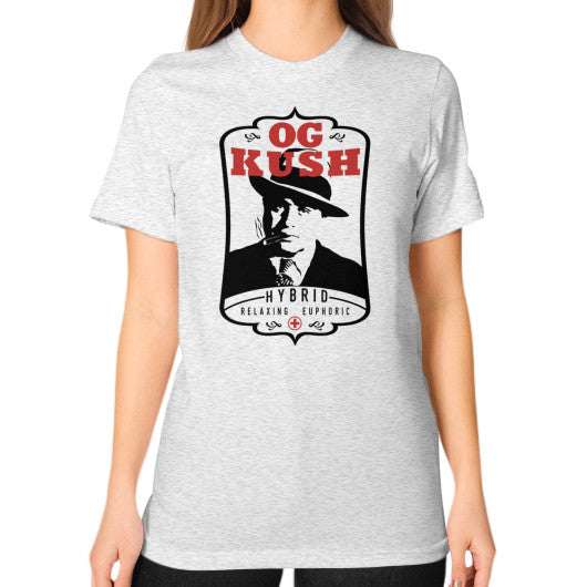 The Original OG Kush Signature Series Unisex T-Shirt (on woman) Ash grey Kushvana