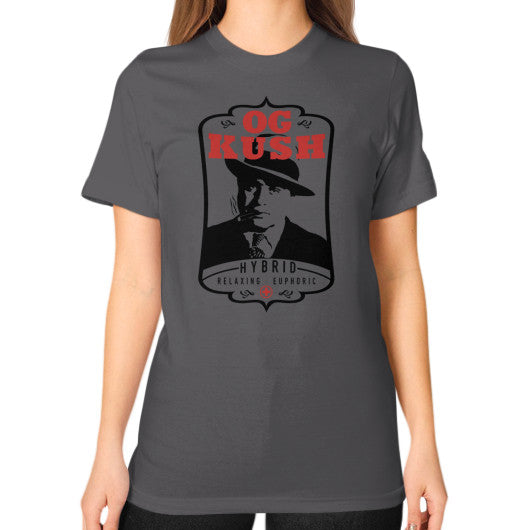 The Original OG Kush Signature Series Unisex T-Shirt (on woman) Asphalt Kushvana