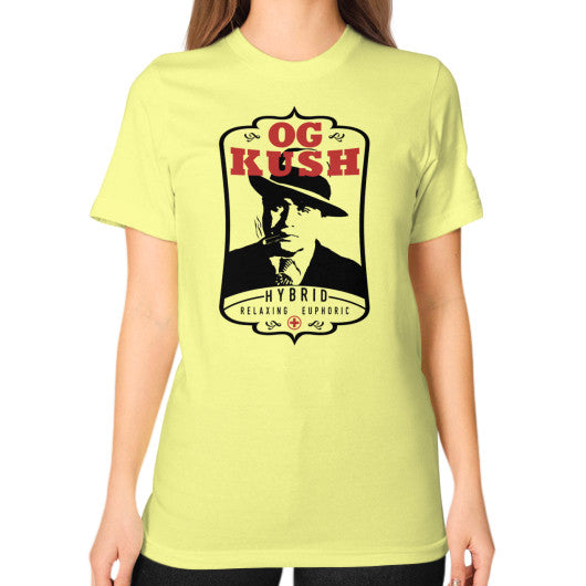 The Original OG Kush Signature Series Unisex T-Shirt (on woman) Lemon Kushvana
