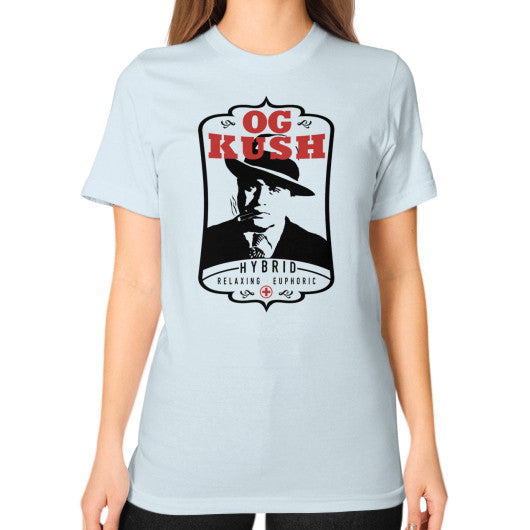 The Original OG Kush Signature Series Unisex T-Shirt (on woman) Light blue Kushvana