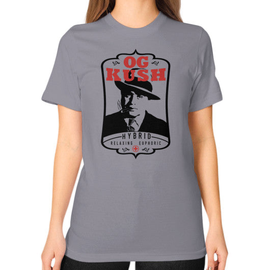 The Original OG Kush Signature Series Unisex T-Shirt (on woman) Slate Kushvana