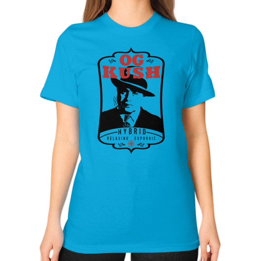 The Original OG Kush Signature Series Unisex T-Shirt (on woman) Teal Kushvana