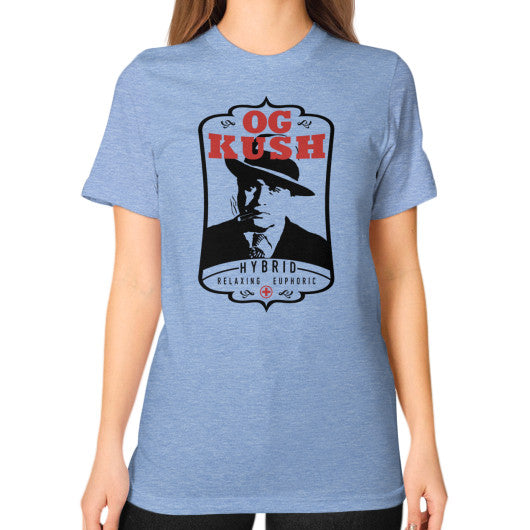 The Original OG Kush Signature Series Unisex T-Shirt (on woman) Tri-Blend Blue Kushvana