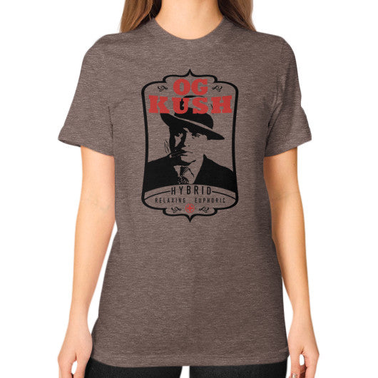The Original OG Kush Signature Series Unisex T-Shirt (on woman) Tri-Blend Coffee Kushvana