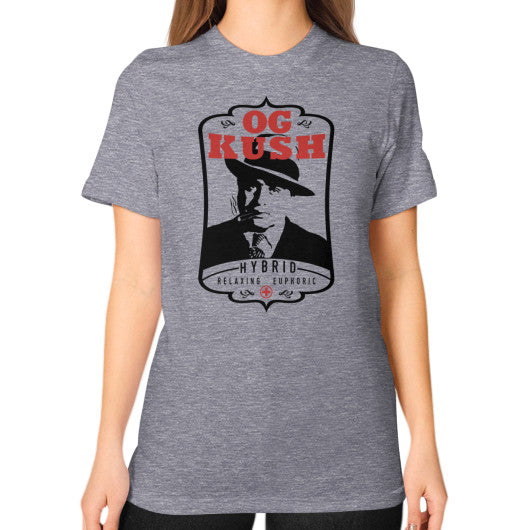 The Original OG Kush Signature Series Unisex T-Shirt (on woman) Tri-Blend Grey Kushvana