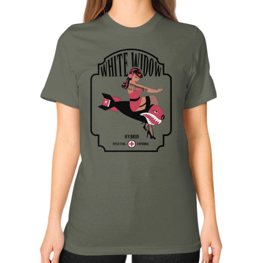 White Widow Signature Series Unisex T-Shirt (on woman) Lieutenant Kushvana