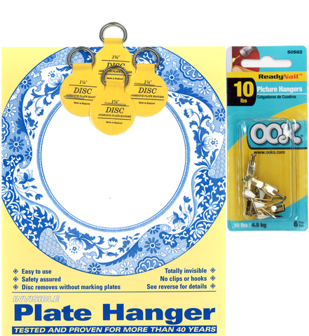Four 1.25-inch Plate Hangers and Six OOK ReadyNail 10lbs. Picture Hooks