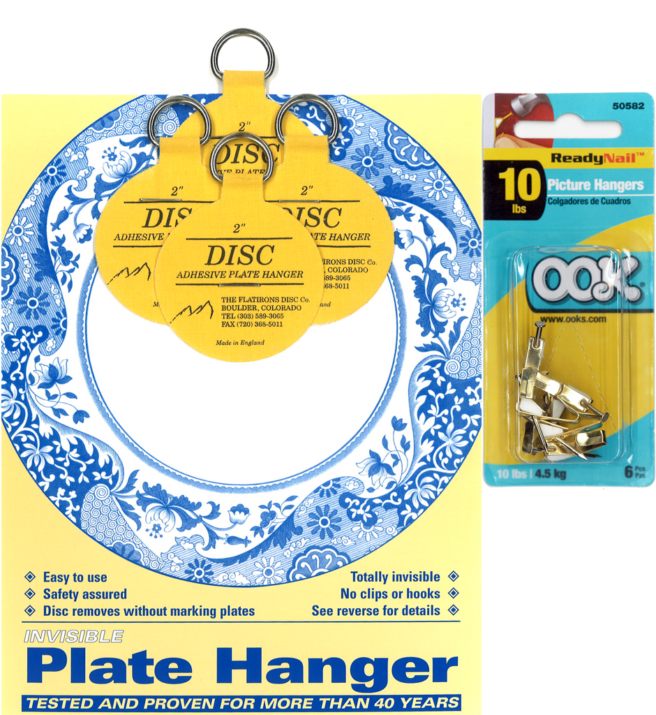 Four 2-inch Plate Hangers and Six OOK ReadyNail 10lbs. Picture Hooks