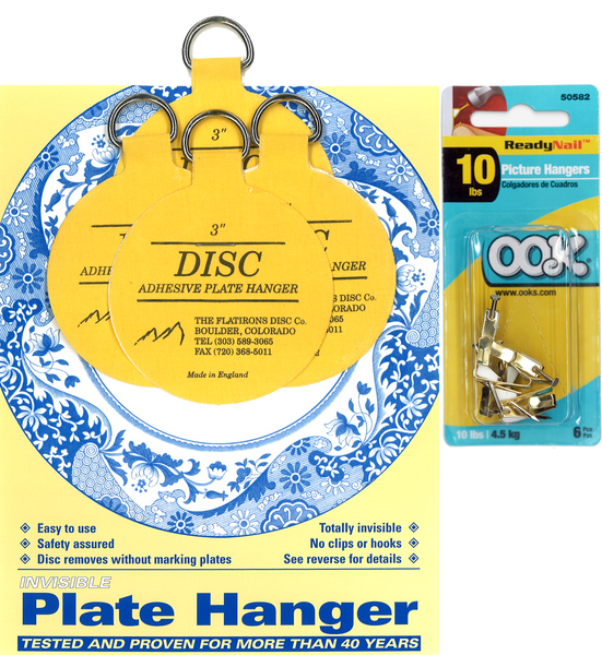 Four 3-inch Plate Hangers and Six OOK ReadyNail 10lbs. Picture Hooks