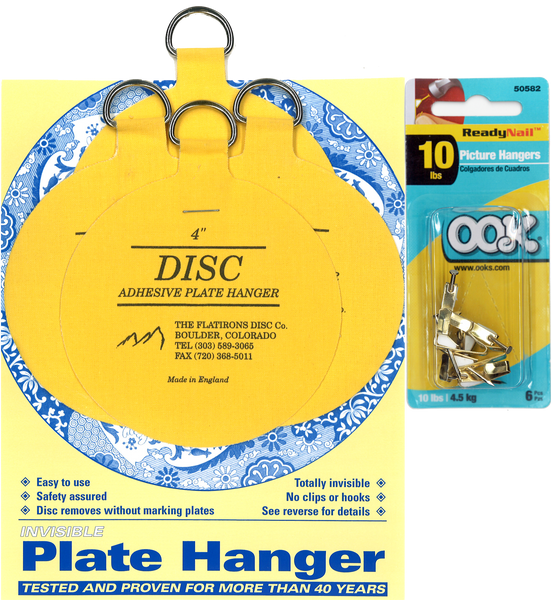 Four 4-inch Plate Hangers and Six OOK ReadyNail 10lbs. Picture Hooks