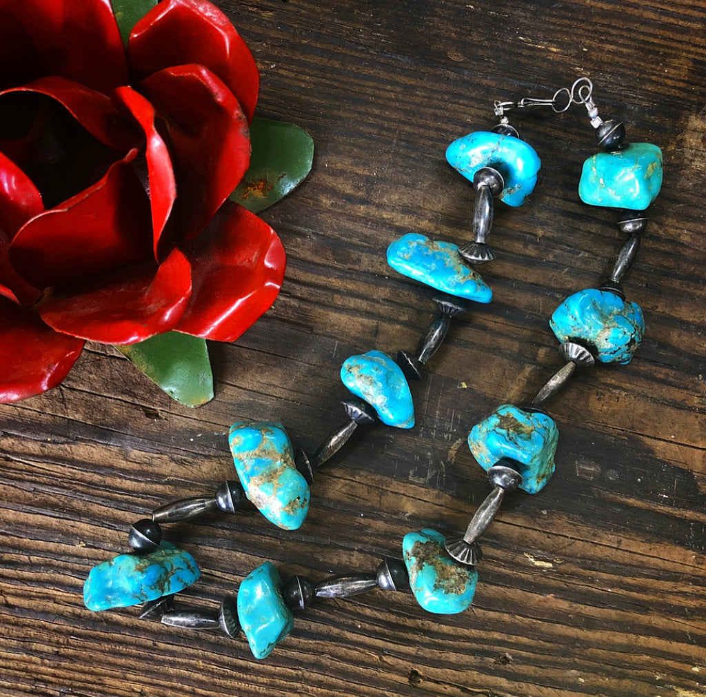 Massive Vintage Turquoise Nugget & Bench Bead Choker