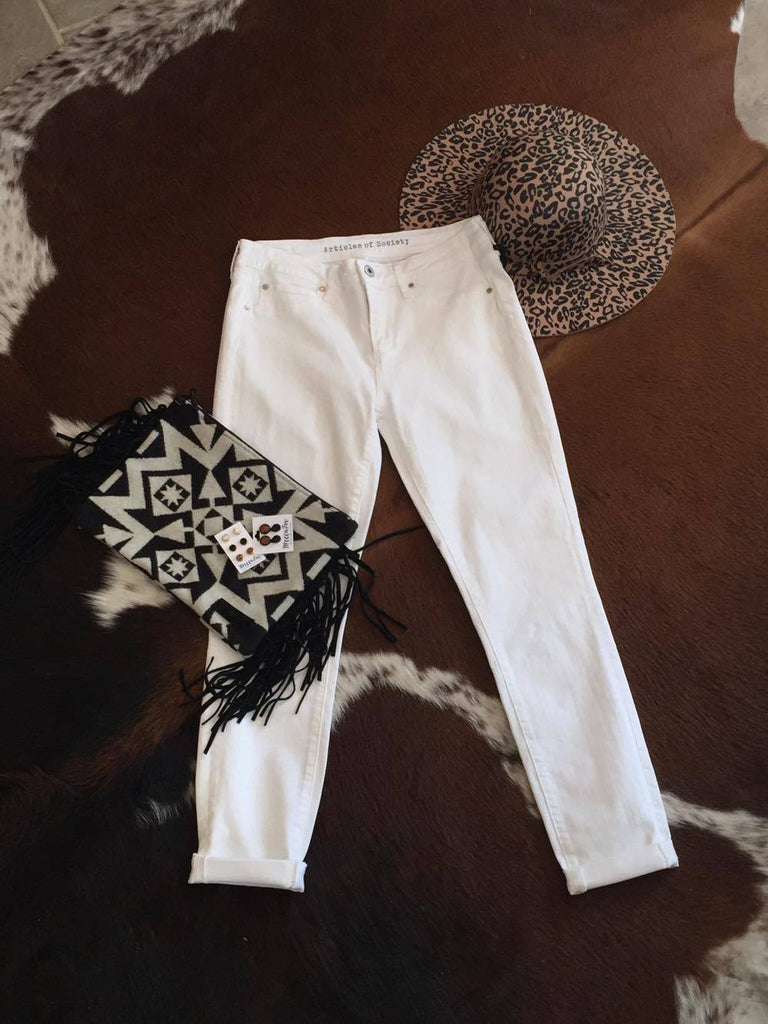 White Roll Cuff Crop Jeans